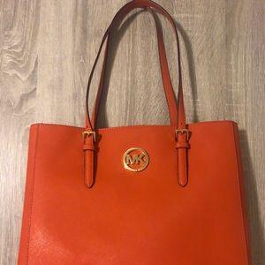 Orange MK Leather Tote-, smoke & pet free home